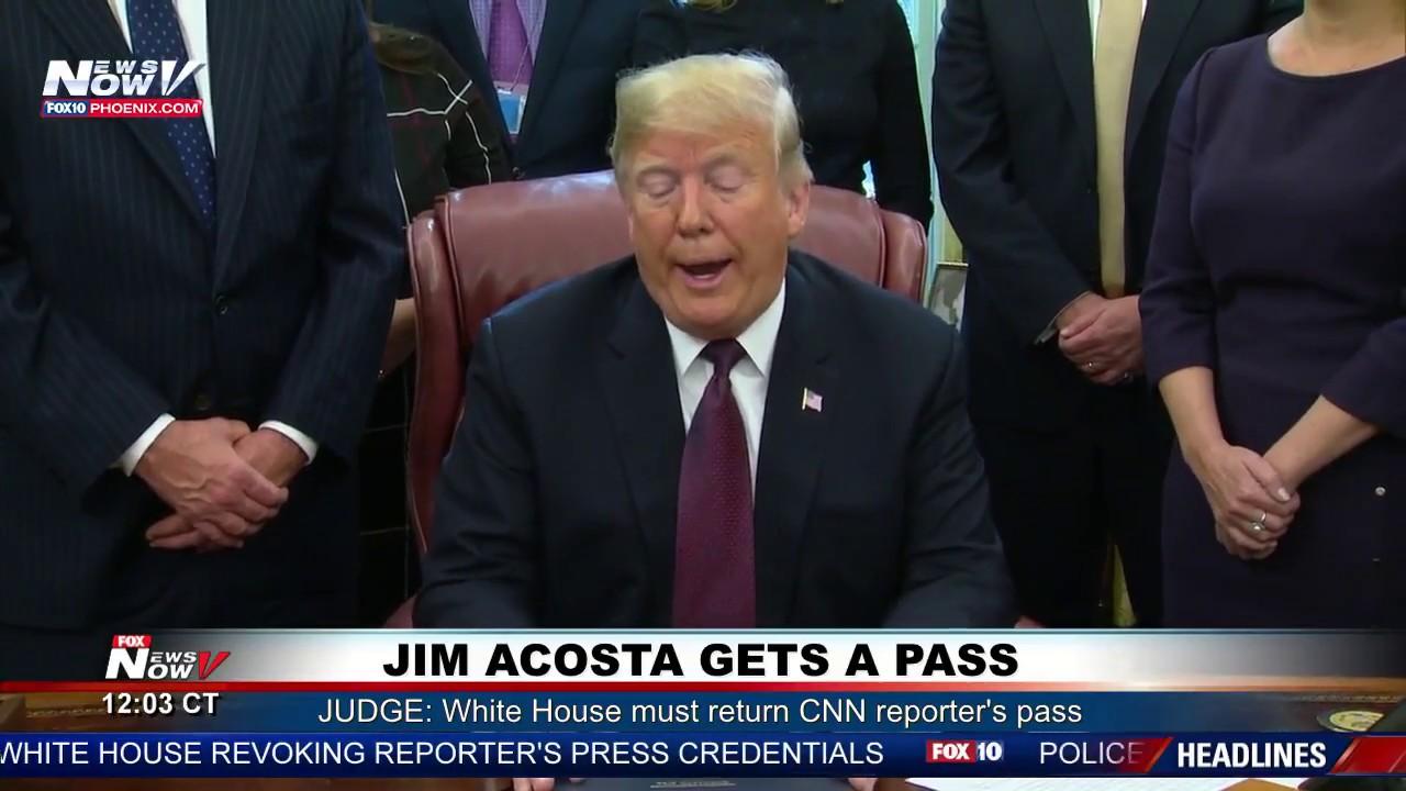 WATCH-President-Trump-Responds-To-CNNs-Jim-Acosta-Getting-Press-Pass-Back