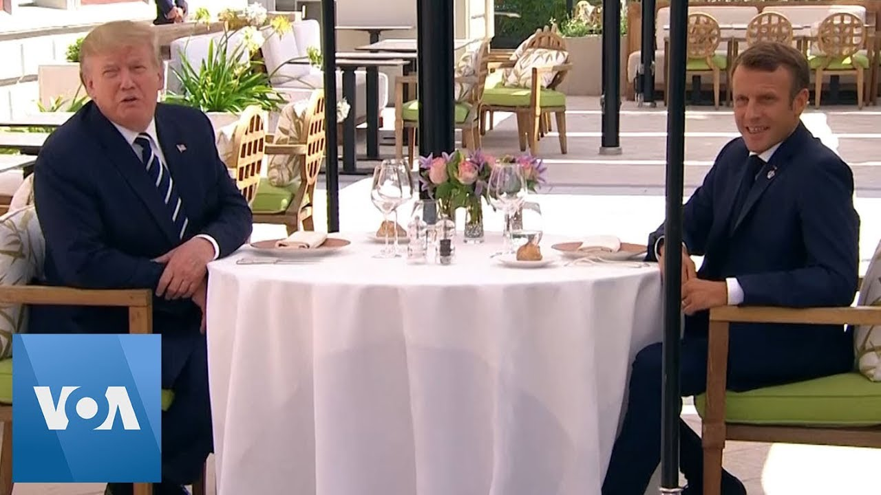 President-Donald-Trump-Sits-Down-With-Macron-For-Lunch-Ahead-of-G-7-Summit