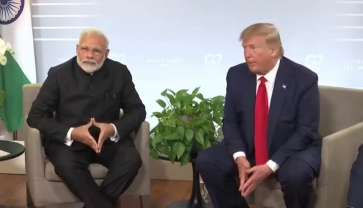 PM-Modi-President-Trump-at-media-interaction-post-bilateral-meeting-at-G7-Summit-in-France
