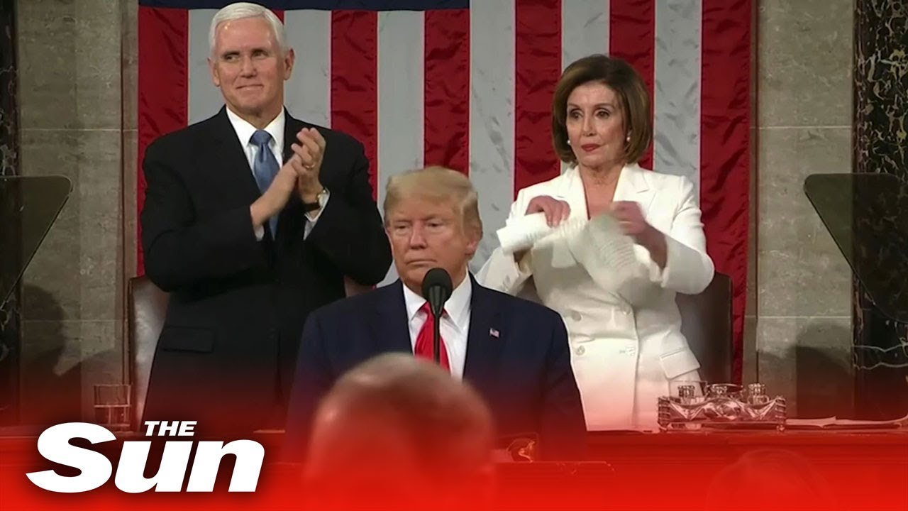 President-Trump-and-House-Speaker-Pelosi-exchange-snubs-at-the-State-of-the-Union-ripping-papers