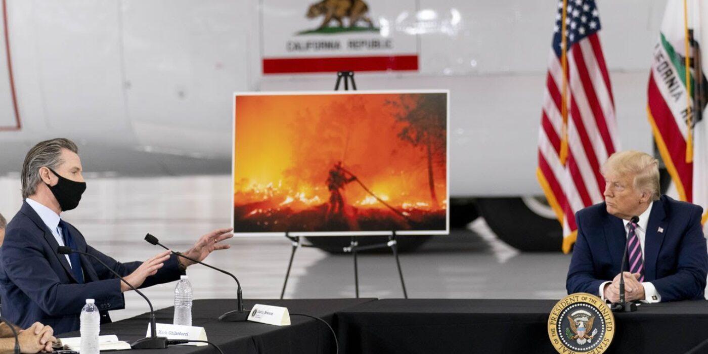 President-Donald-Trump-Governor-Gavin-Newsom-address-California-wildfire-damage-in-Sacramento