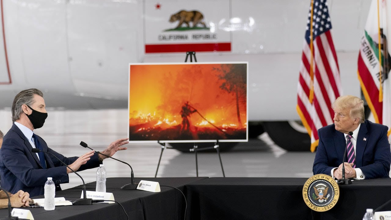 President-Donald-Trump-Governor-Gavin-Newsom-address-California-wildfire-damage-in-Sacramento